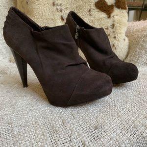 Velvet Angels brown suede booties, stiletto heel